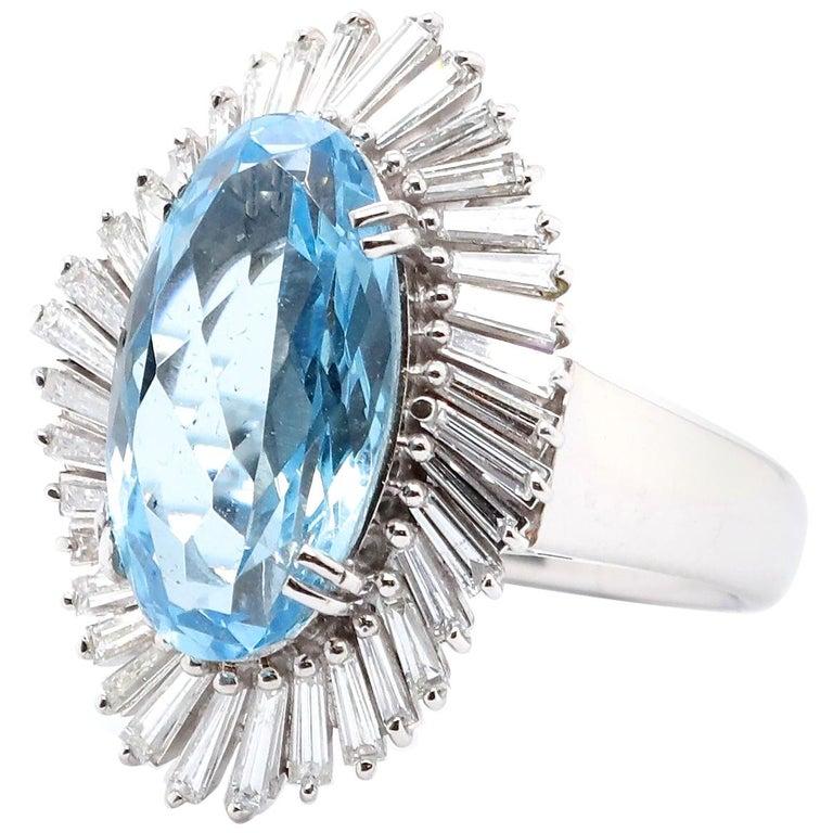 Vintage Aquamarine Diamond Platinum Ballerina Cluster Ring