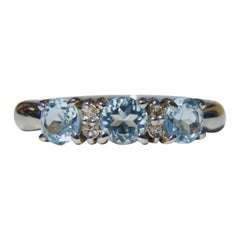 Vintage Aquamarine Diamond Platinum Trinity Ring