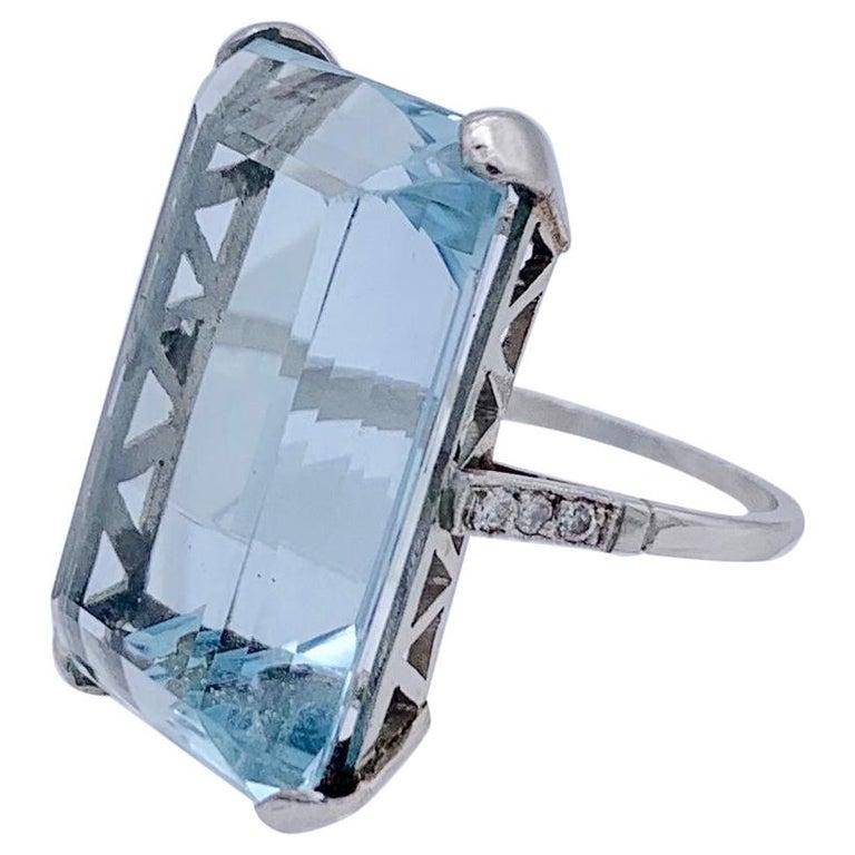 Vintage Aquamarine Diamond White Gold Cocktail Ring For Sale