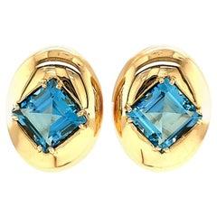 Vintage Aquamarine Gold Ear Clips