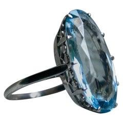 Vintage Aquamarine Solitaire Ring Engagement Ring in Platinum, 10.00 Carat