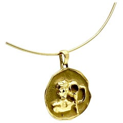 Vintage Aquarius Zodiac 14k Gold Pendant Medallion, Ford Estate