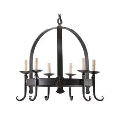 Vintage Arching Six-Light Iron Chandelier with Knight and Horse Medallions