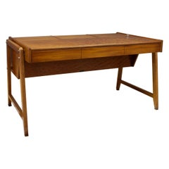 Vintage Architect Desk by Clausen and Maurus in Quilted Mahogany, 1960s