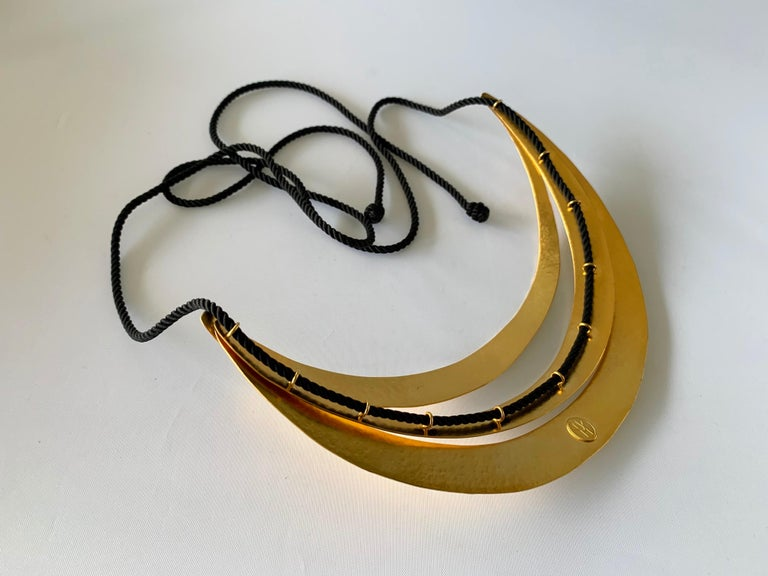 Vintage Architectural Asymmetrical Wave Statement Necklace   For Sale 2