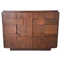 Vintage Architectural Brutalist Cabinet, 1970s
