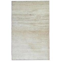 Vintage Area Rug, Plain Cream Handmade Wool Carpet Rug