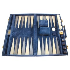 Vintage Aries Backgammon Set in a Blue Briefcase 1970s
