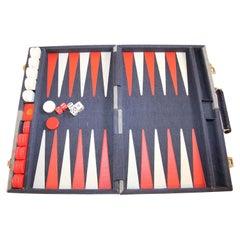 Vintage Aries Backgammon Set in a Briefcase Blue Denim Fabric 1970s