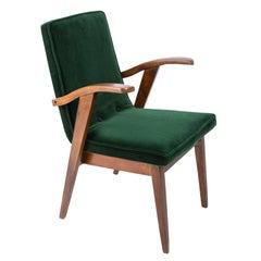 Vintage Armchair, Dark Green Velvet, Mieczyslaw Puchala, Poland, 1960s