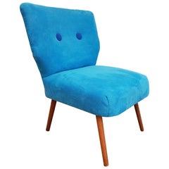 Vintage Armchair, 1970s, Blue Fabric, Kvadrat Wool Buttons, Beechwood