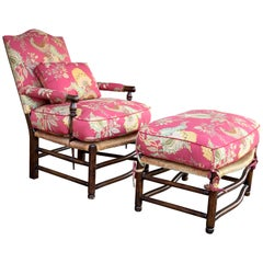 Vintage Armchair and Ottoman Set