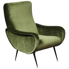 Vintage Armchair in the Style of Marco Zanuso in Green Velvet