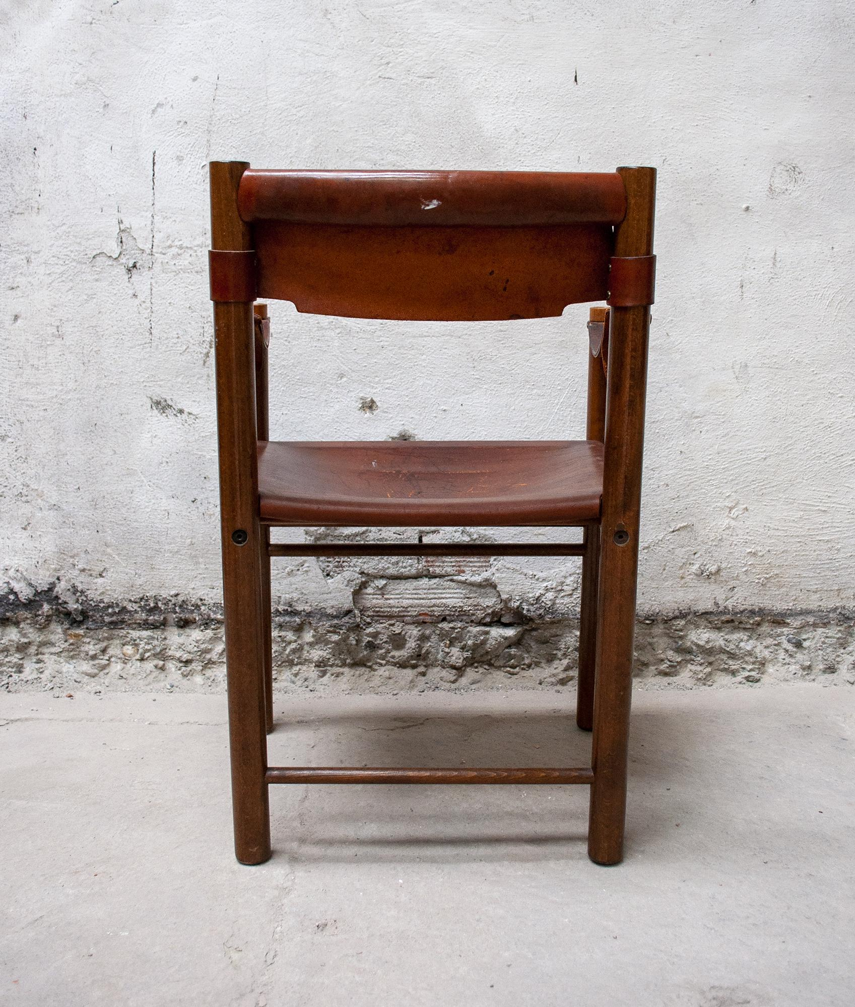 Vintage Armchair In Wood And Leather By Ibisco Chair, Italy 60u0027s