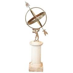 Vintage Armillary or Sun Clock on Original White Pedestal Base, Denmark