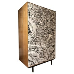 Vintage Armoire Compactium Engraving of Ancient Rome on Formica Panels, 1950s