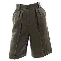 Vintage Army Green Escada Linen High Waisted Shorts Deadstock New With Tags