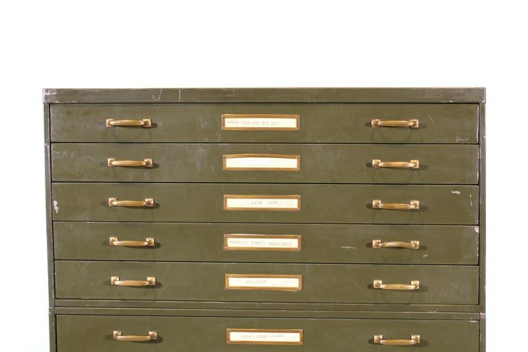 Vintage Army Green Steel Flat File Map and Blueprint ...