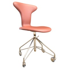 Vintage Arne Jacobsen Munkegaard Office Swivel Stool Model 3115 by Fritz Hansen