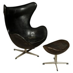 "Vintage Arne Jacobsen ""The Egg"" Chair in Leather, with Ottoman, 1963"