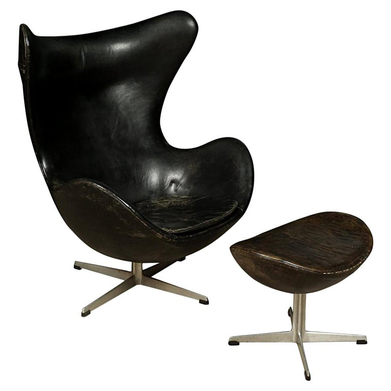 Vintage Arne Jacobsen The Egg Chair In Original Leather With Ottoman 1963 For Sale At 1stdibs