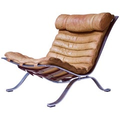 """Vintage Arne Norell """"Ari"""" Lounge Chair in Steel & Leather-Sweden, 1966"""