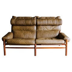 Vintage Arne Norell Leather Sofa Model Inca, Circa 1970