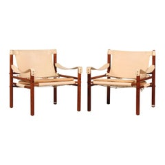 Vintage Arne Norell Rosewood Scirocco Chairs with Leather by Norell AB Sweden