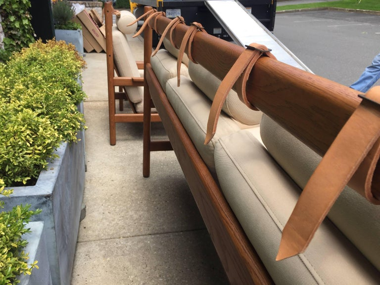 Swedish Vintage Arne Norell Teak Sofa with Leather Straps For Sale