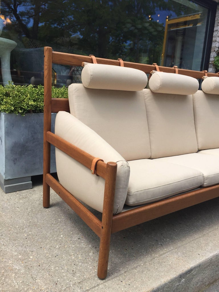 Vintage Arne Norell Teak Sofa with Leather Straps In Good Condition For Sale In East Hampton, NY