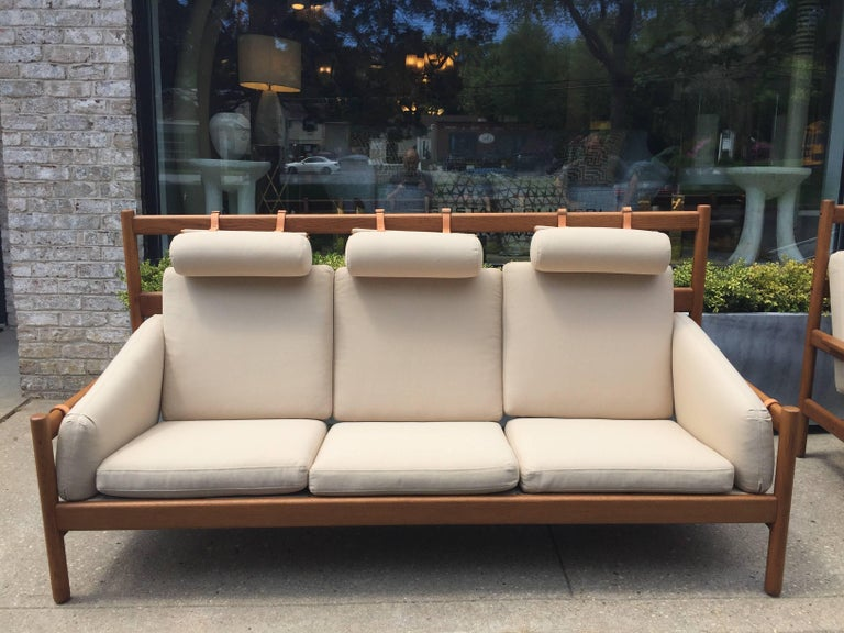 Mid-20th Century Vintage Arne Norell Teak Sofa with Leather Straps For Sale
