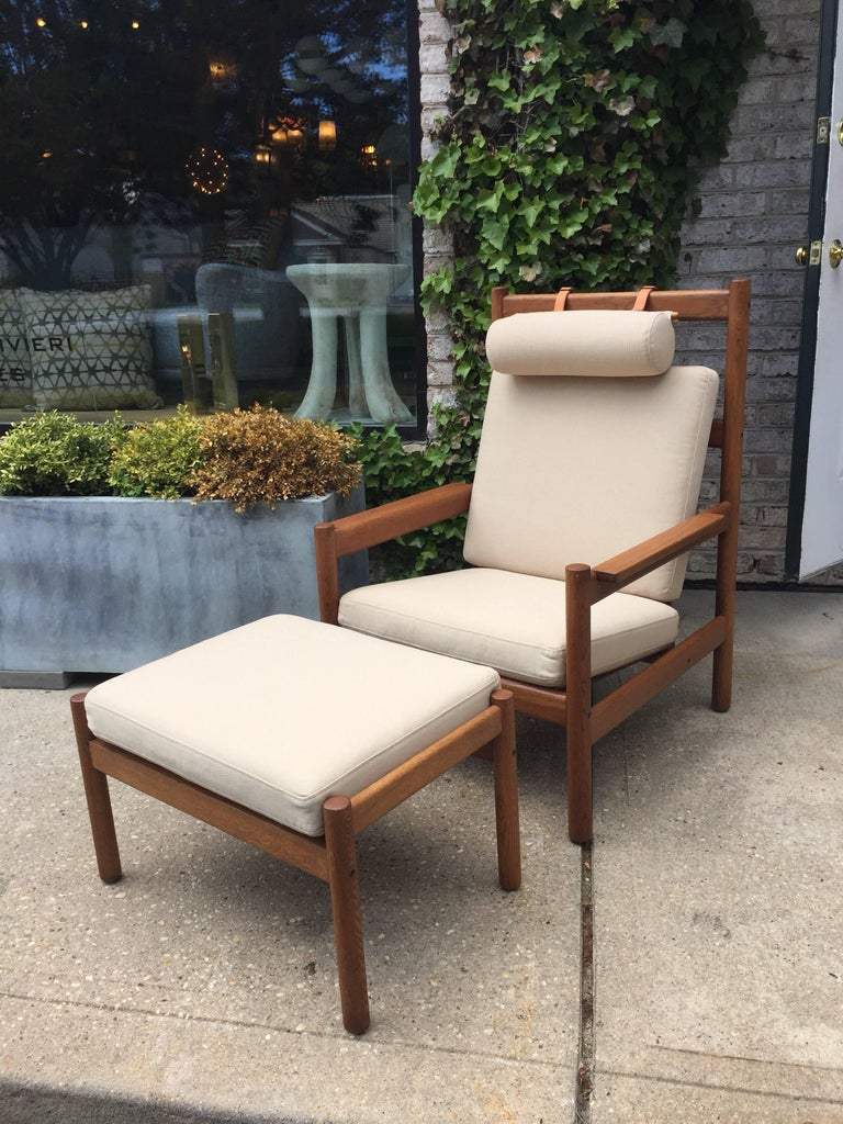 Vintage Arne Norell Teak Sofa with Leather Straps For Sale 1