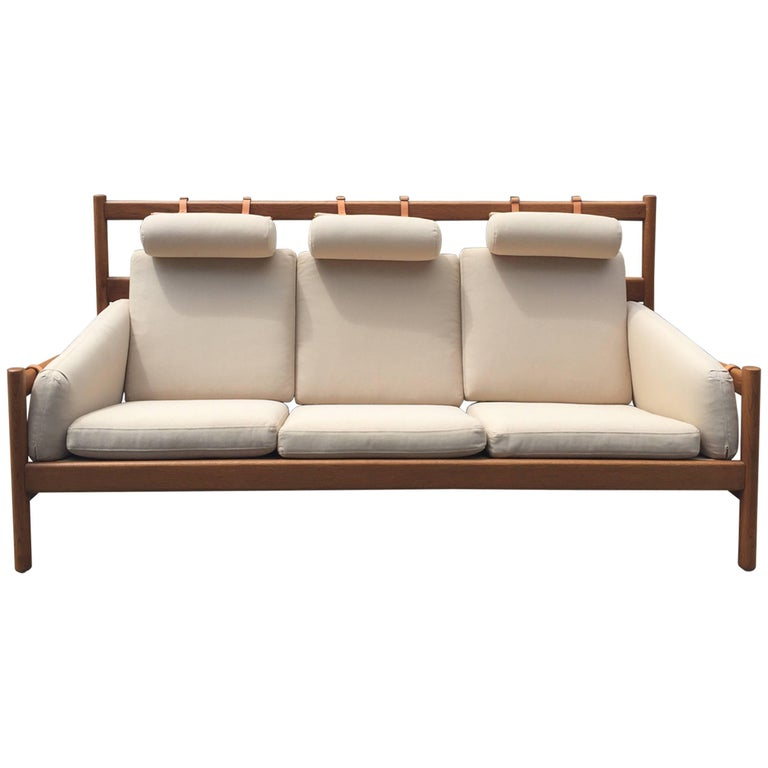 Vintage Arne Norell Teak Sofa with Leather Straps For Sale