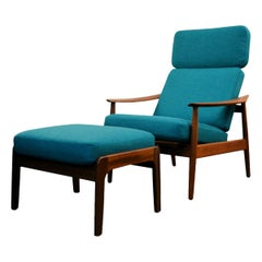 Vintage Arne Vodder Fd-164 Teak Lounge Chair and Ottoman