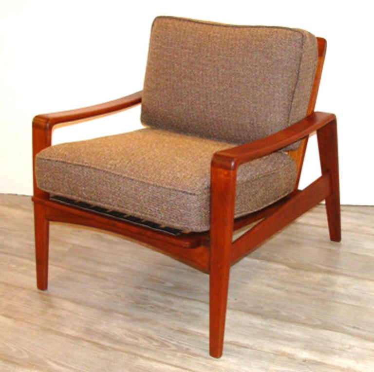 Scandinavian Modern Vintage Arne Wahl Iversen Chair and Ottoman Two Sets For Sale