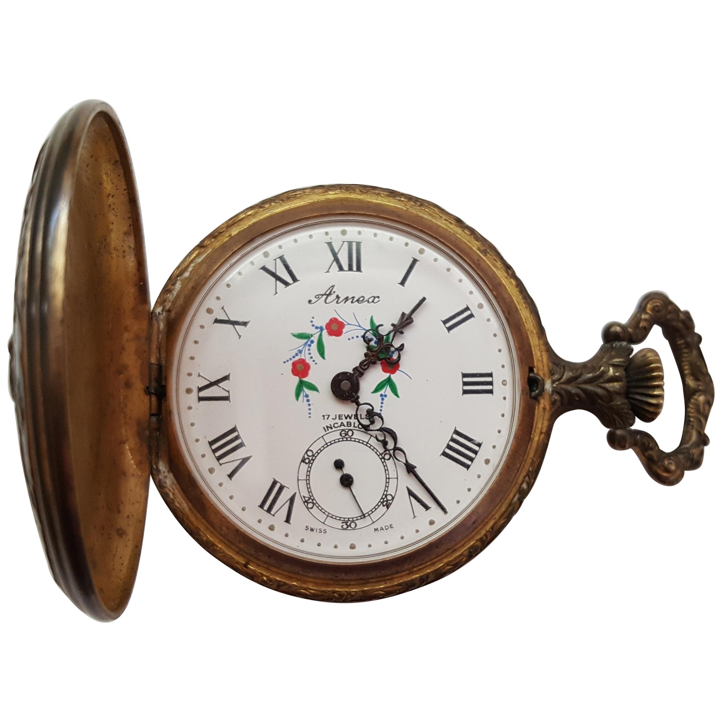Vintage Arnex Pocket Watch, Swiss Movement, 17 Jewel, Design Case