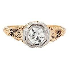 Vintage Art Deco 0.70 Carat Diamond Ring 14 Karat Yellow Gold Filigree Jewelry