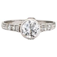 Vintage Art Deco 1 Carat Diamond Engagement Ring Platinum Fine Bridal Jewelry