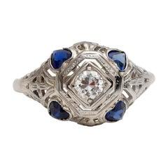 Vintage Art Deco 14 Karat Gold Diamond Filigree Ring with Blue Sapphire Heart