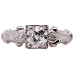 Vintage Art Deco 14 Karat White Gold Old European Cut Diamond Engagement Ring