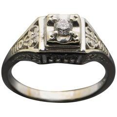 Vintage Art Deco 14 Karat White Gold with Diamond Ring
