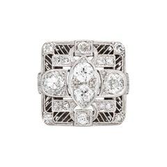 Vintage Art Deco 1.50ct Diamond Ring Platinum Large Square Dinner