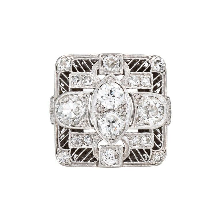 Vintage Art Deco 1.50ct Diamond Ring Platinum Large Square Dinner For Sale