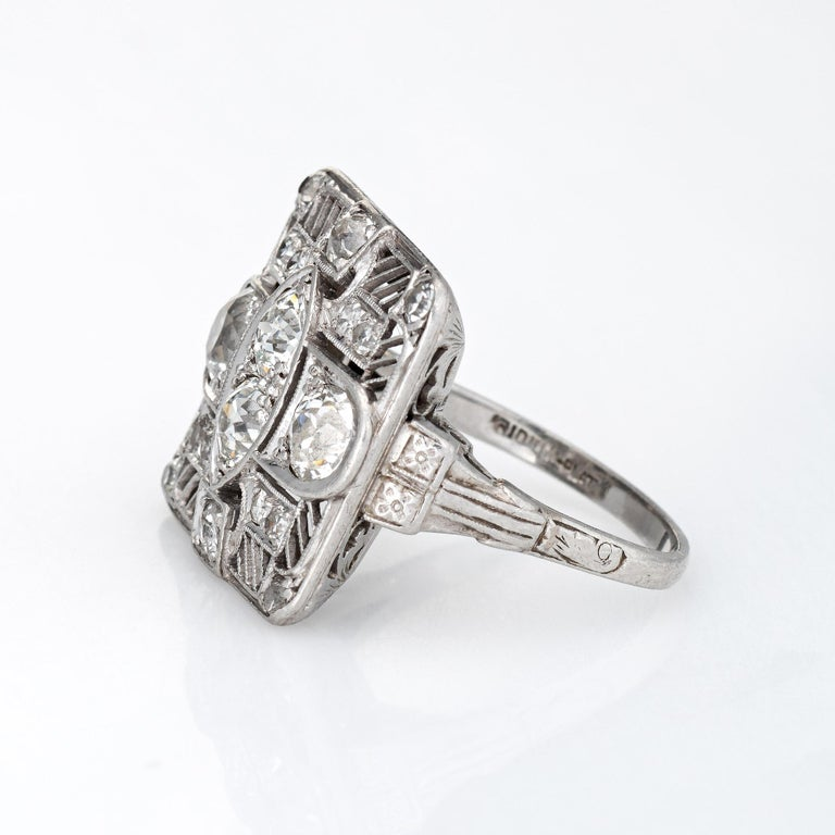 Old European Cut Vintage Art Deco 1.50ct Diamond Ring Platinum Large Square Dinner For Sale