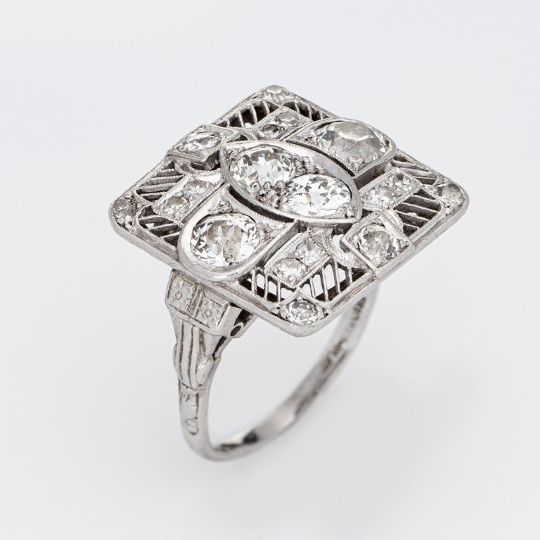 Vintage Art Deco 1.50ct Diamond Ring Platinum Large Square Dinner In Good Condition For Sale In Torrance, CA