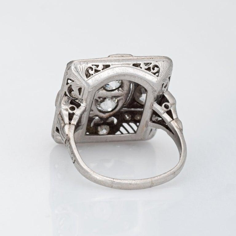 Women's Vintage Art Deco 1.50ct Diamond Ring Platinum Large Square Dinner For Sale