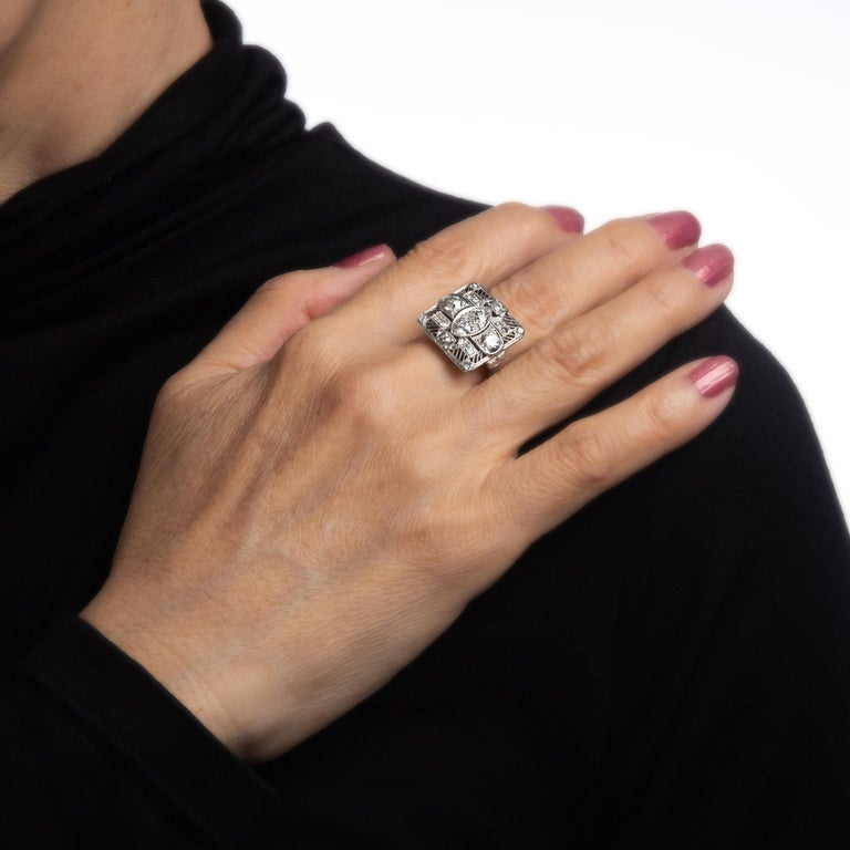 Vintage Art Deco 1.50ct Diamond Ring Platinum Large Square Dinner For Sale 1
