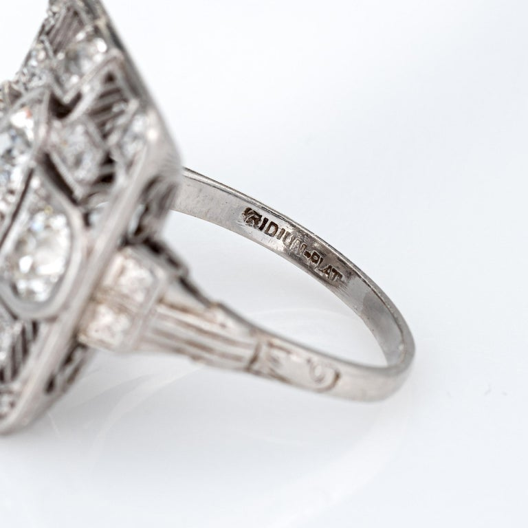 Vintage Art Deco 1.50ct Diamond Ring Platinum Large Square Dinner For Sale 2