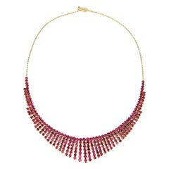 Vintage Art Deco 18 Karat Gold and Ruby Fringe Necklace, 1940s