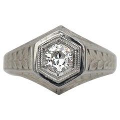 Vintage Art Deco 18 Karat Gold Diamond Engraved Engagement Ring, circa 1920s